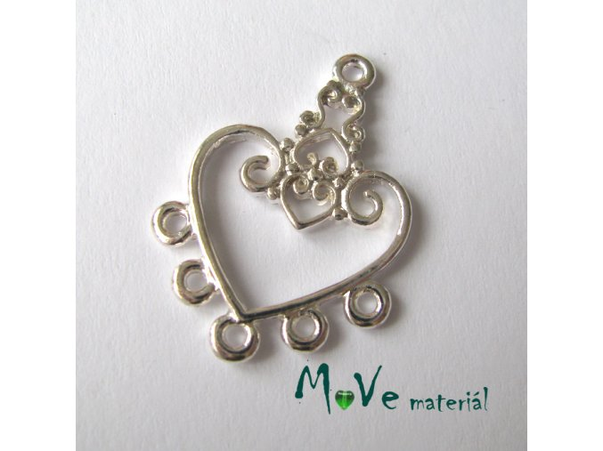 Ramínko srdce 31x21mm, 1ks, stříbrné