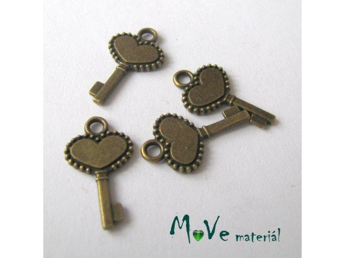 Přívěsek klíč 16x13mm, 4ks, staromosaz