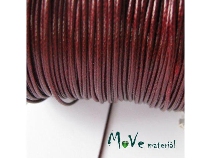 Šňůra voskovaná polyester pletená 1mm/3m, bordó