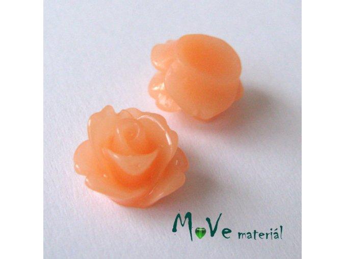 Kabošon květ lesklý C4 - resin - 2ks, broskvový