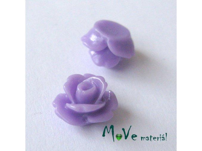 Kabošon květ lesklý C4 - resin - 2ks, fialový