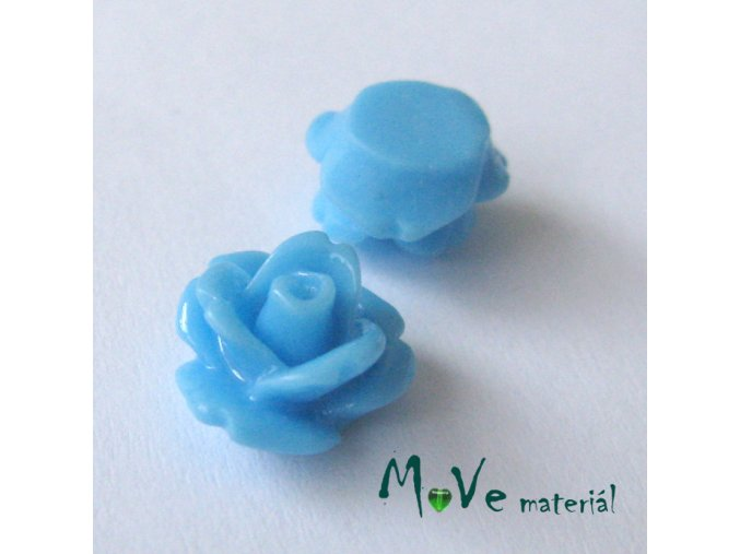 Kabošon květ lesklý C4 - resin - 2ks, sv. modrý