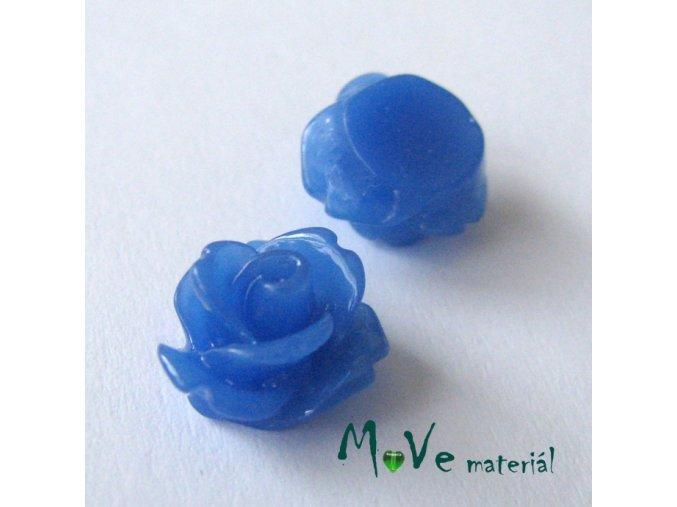 Kabošon květ lesklý C4 - resin - 2ks, tm. modrý