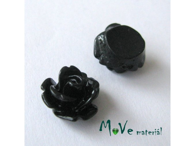 Kabošon květ lesklý C4 - resin - 2ks, černý
