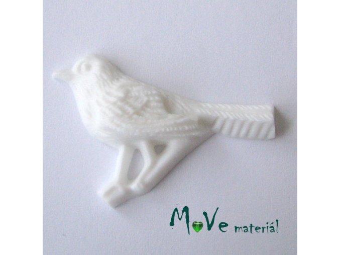 Kabošon ptáček - resin - 1ks, bílý