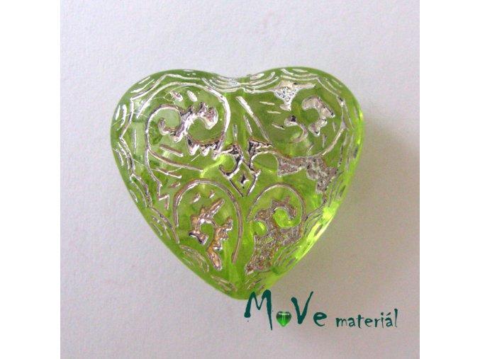 Akrylové transp. srdíčko 24x22x11mm,1ks, zelené