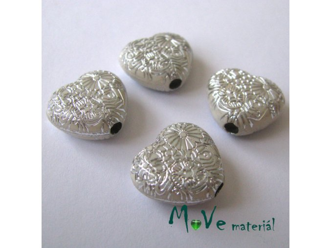 Akrylové transp. srdíčko 15x16x7mm, 4ks, bílé