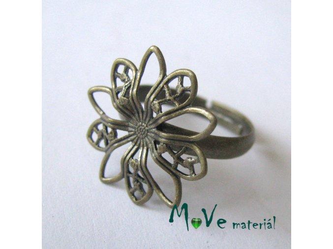 Prstýnek filigrán-květ 17mm, mosaz 1ks