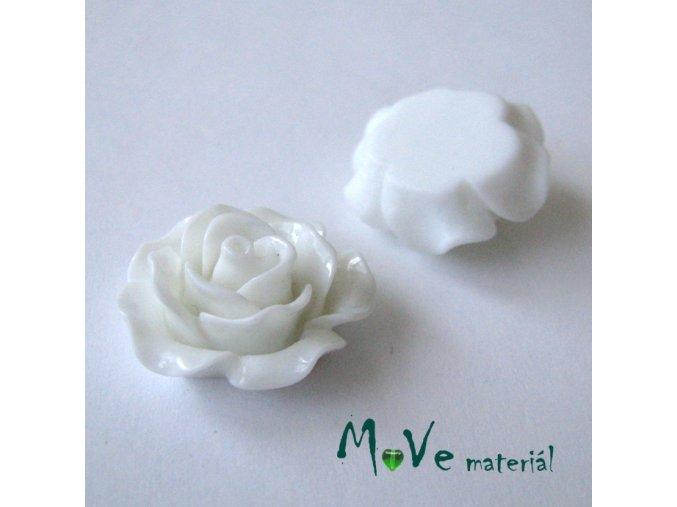 Kabošon růžička lesklá B2 - resin - 2ks, bílý