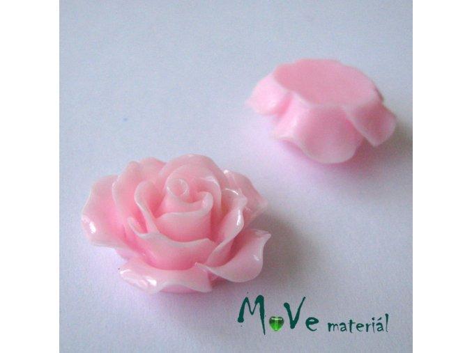 Kabošon růžička lesklá B2 - resin - 2ks, sv. růž.