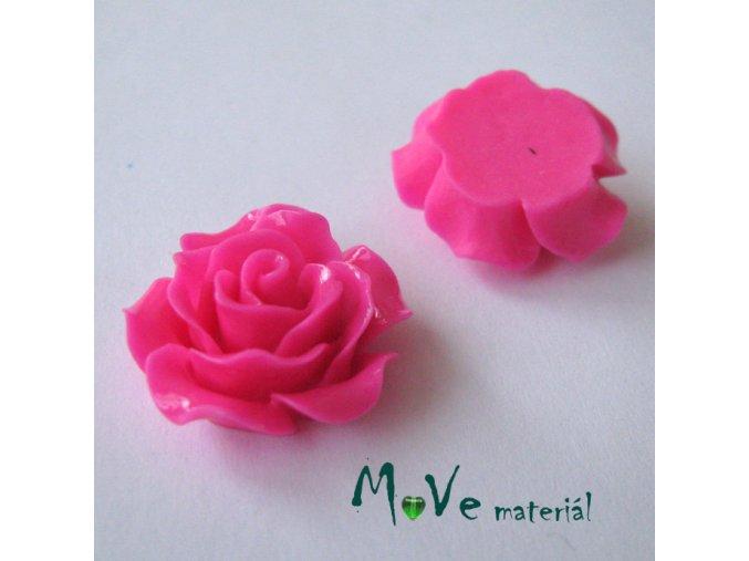 Kabošon růžička lesklá B2 - resin - 2ks, tm. růž.