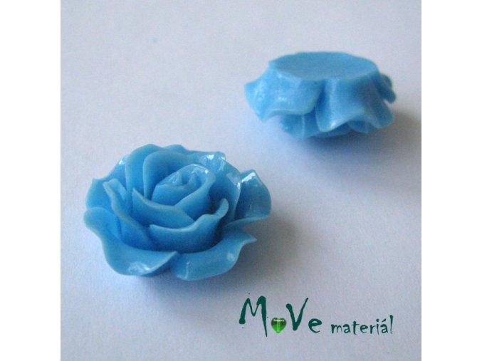 Kabošon růžička lesklá B2 - resin - 2ks, sv. modrá