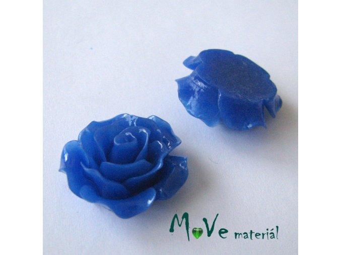Kabošon růžička lesklá B2 - resin - 2ks, tm. modrá