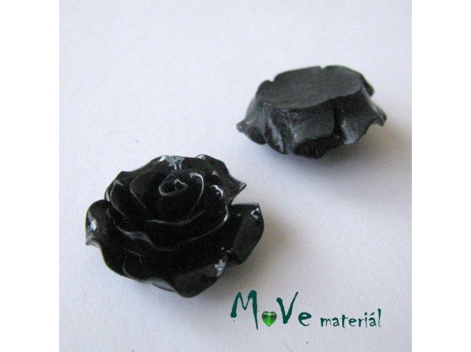 Kabošon růžička lesklá B2 - resin - 2ks, černý