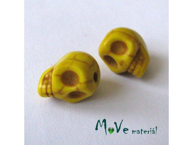 Lebka barvený howlit 9x7,5x9mm, 4ks, žlutá