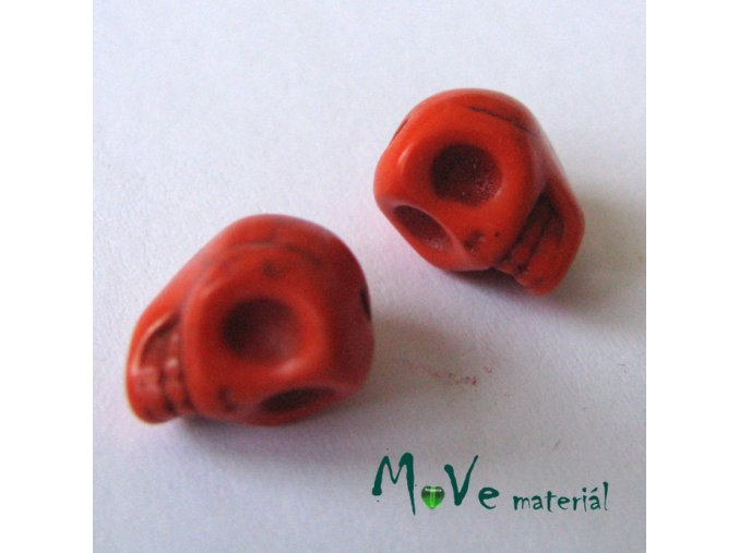 Lebka barvený howlit 9x7,5x9mm, 4ks, oranžová