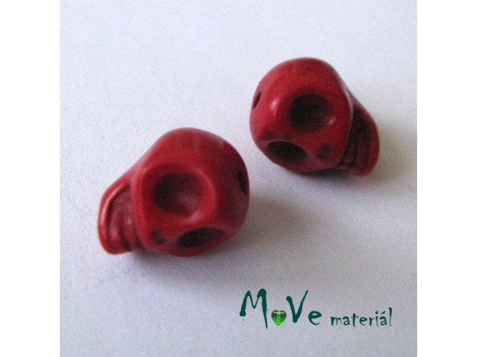 Lebka barvený howlit 9x7,5x9mm, 4ks, červená