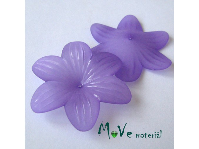 Akrylový květ transp. 42mm, 1ks, fialový