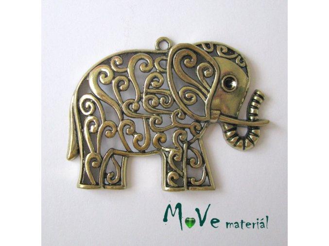Přívěsek slon filigrán 61x47mm, 1ks, staromosaz