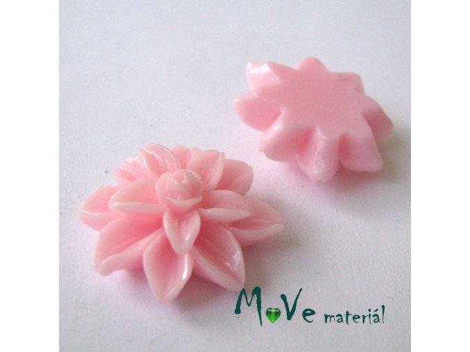 Kabošon květ lesklý - resin - 2ks, růžový