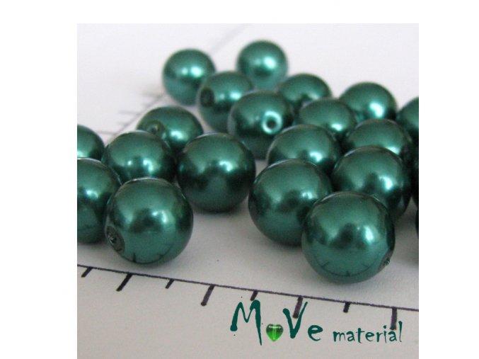 Voskové perle lahvově zelené 10 mm 14 ks