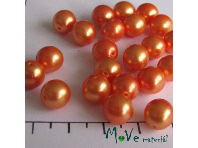 České voskové perle oranžové 8 mm 22 ks