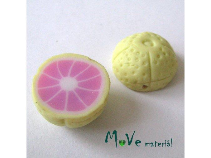 Fimo korálky 22x11mm, citrus, žlutý