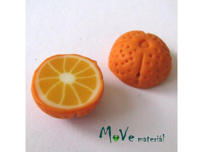 Fimo korálky 22x11mm, citrus, oranžový