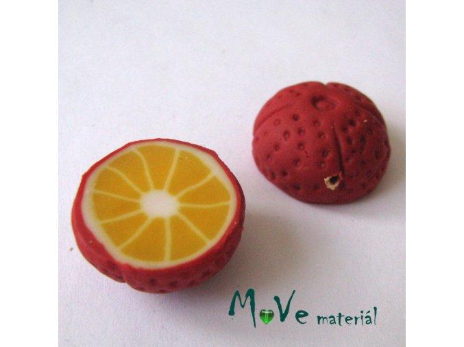 Fimo korálky 22x11mm, citrus, červený