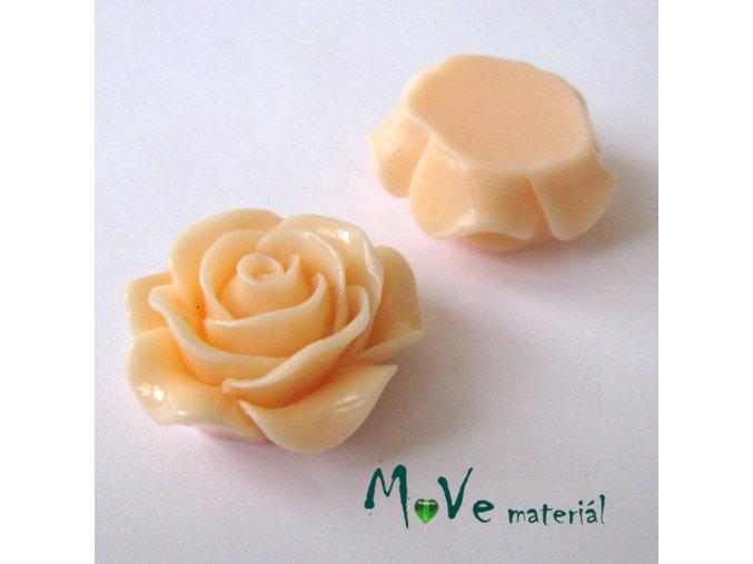 Kabošon květ lesklý C1 - resin - 1ks, lososový