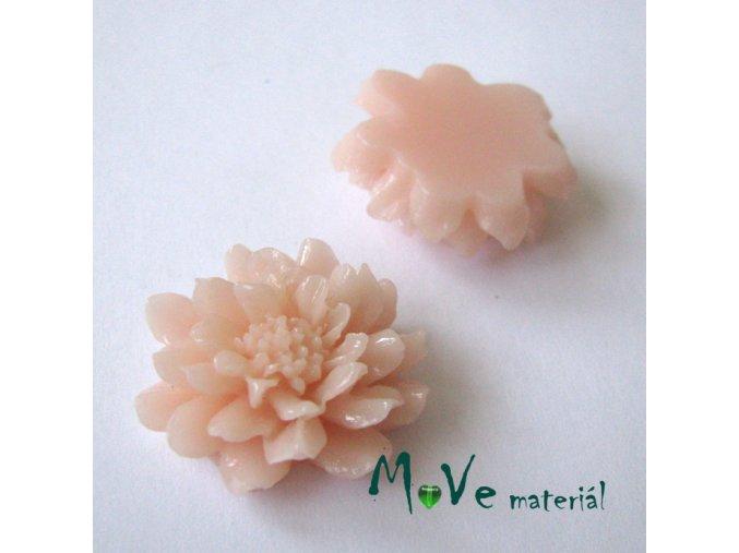 Kabošon květ C5 - resin - 1ks, světle broskvový