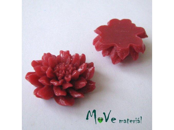 Kabošon květ C5 - resin - 1ks, červený
