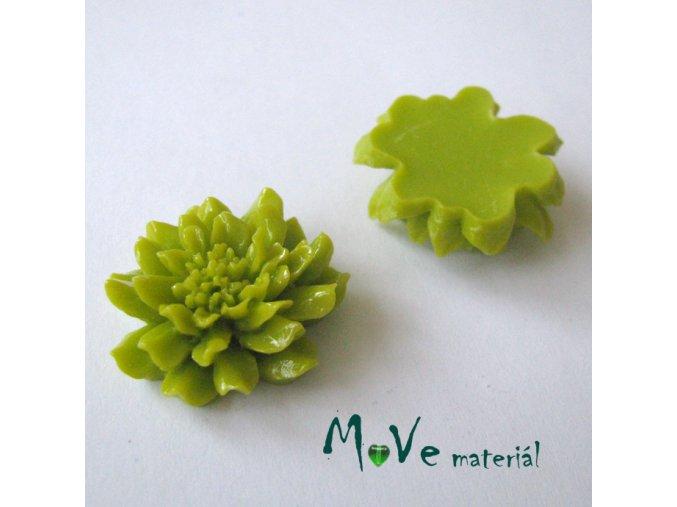 Kabošon květ C5 - resin - 1ks, žlutozelený