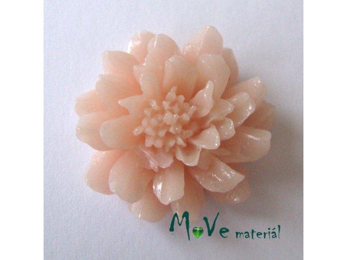 Kabošon květ resin II. jak. 1ks, světle broskvový
