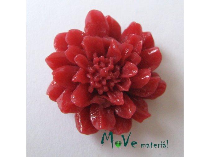 Kabošon květ resin II. jak. 1ks, červený