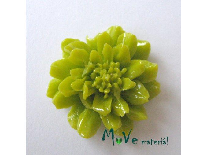 Kabošon květ resin II. jak. 1ks, žlutozelený