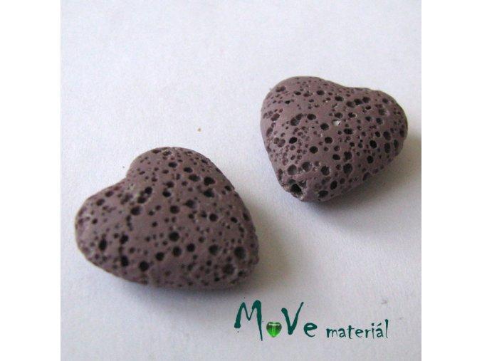 Lávový korálek srdce 20x21x7mm, 1ks, fialové
