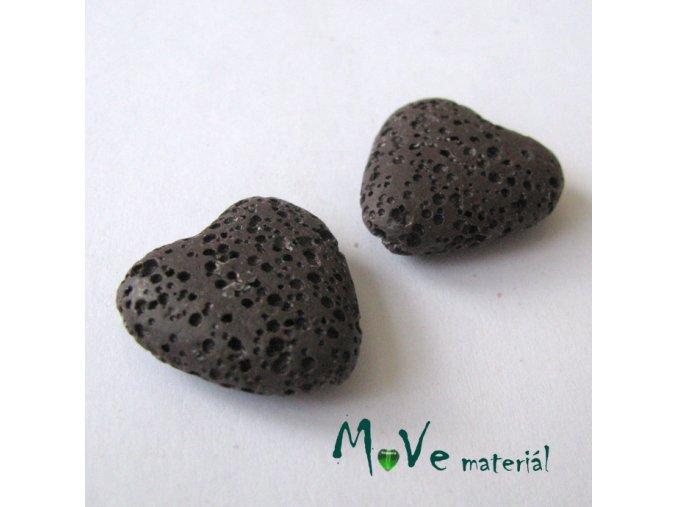 Lávový korálek srdce 20x21x7mm, 1ks, hnědé