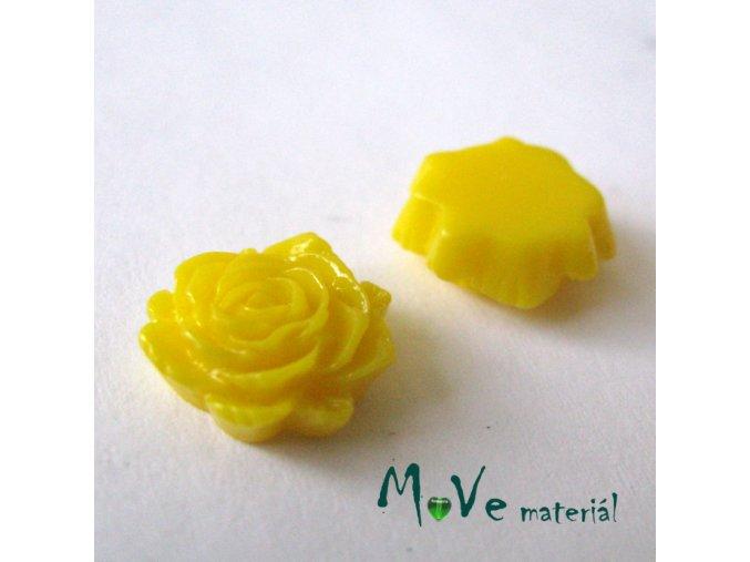 Kabošon květ lesklý C6 - resin - 2ks, žlutý