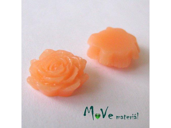 Kabošon květ lesklý C6 - resin - 2ks, meruňkový