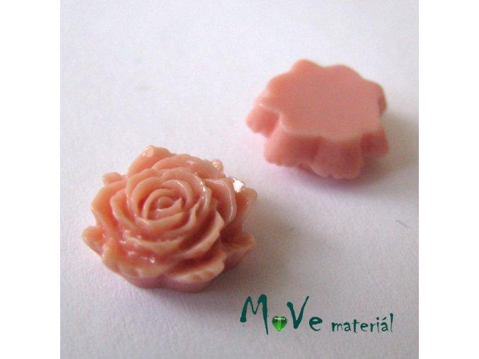 Kabošon květ lesklý C6 - resin - 2ks, starorůžový