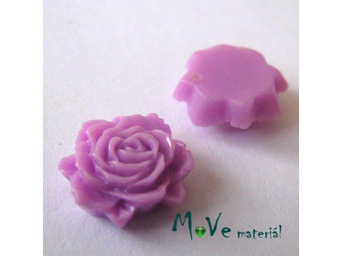 Kabošon květ lesklý C6 - resin - 2ks, růžovofial.