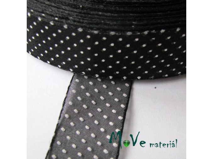Šifónová stuha puntík 25mm, 1m, černá