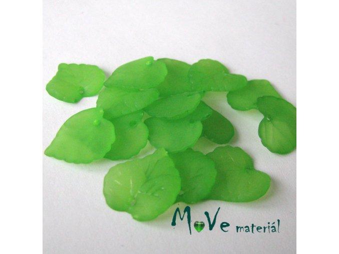 Akrylové transparentní lístečky, 15ks, zelené
