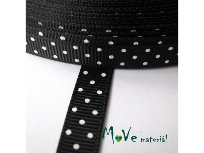 Stuha rypsová puntík 10mm 1m, černá