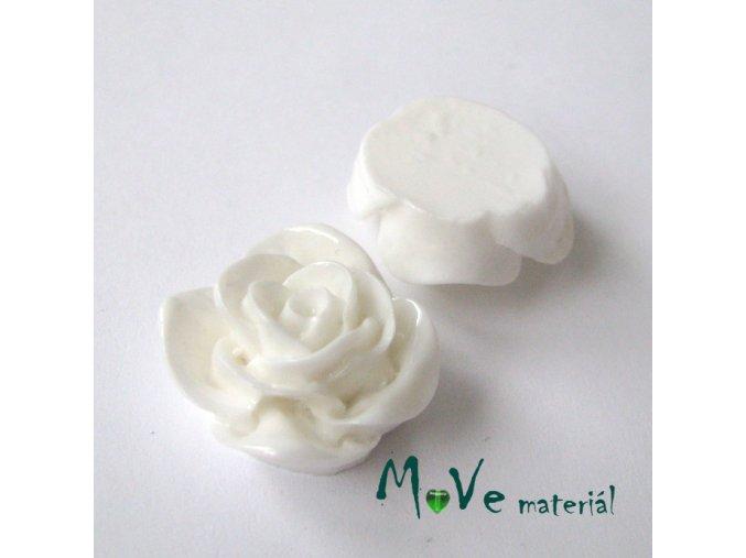 Kabošon -růže - lesklý resin B7 - 2ks, bílý