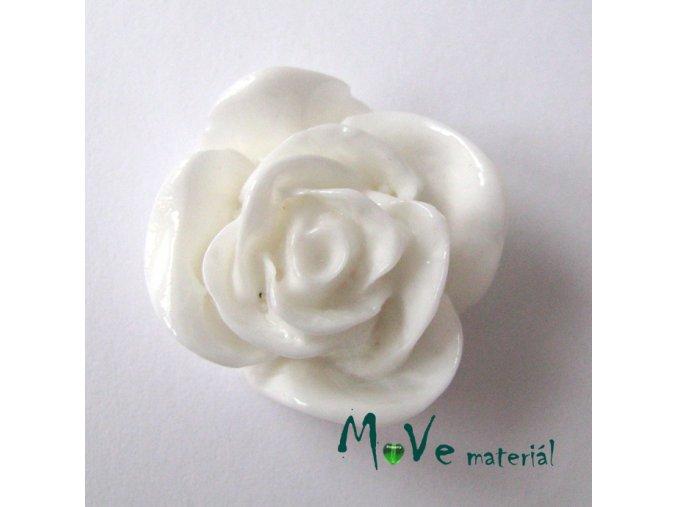 Kabošon -růže - lesklý resin 1ks, bílý, II. jakost
