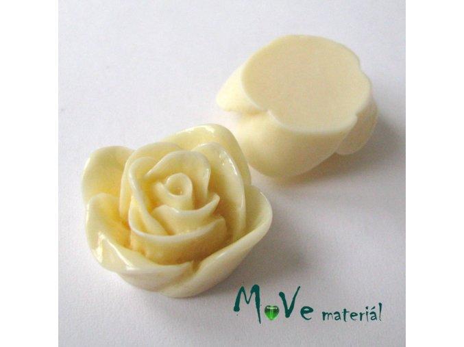 Kabošon -růže - lesklý resin B7 - 2ks, vanilkový
