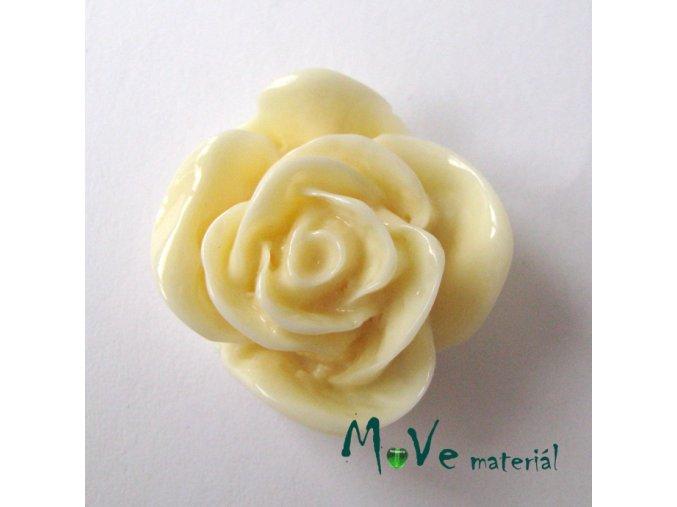 Kabošon -růže - lesklý resin1ks, vanil, II. jakost