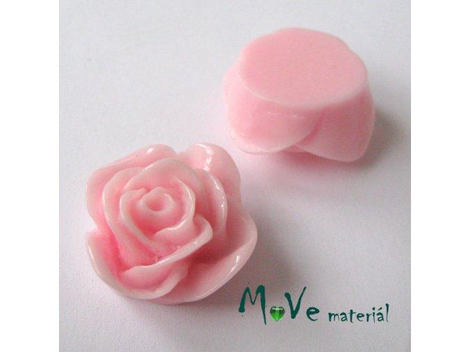 Kabošon -růže - lesklý resin B7 - 2ks, sv. růžový